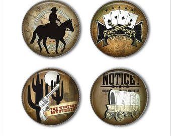Western magnets or pins, wild west magnets or pins, cowboy, refrigerator magnets, fridge magnets, office magnets
