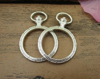 2 Round Bezel Pendants-30mm,Locket Frame,Bright Silver Tone(No glass)-TS061