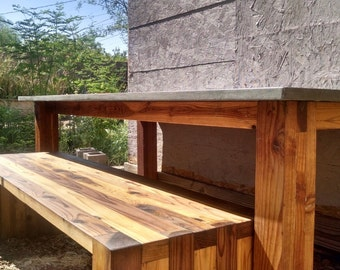 Custom Sized Concrete Table Wood Base