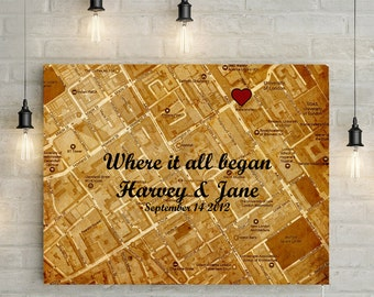 Where we met/ Where we began - Personalized Map with Custom Poem/Quote/Message - Great Valentines/ Anniversary Gift!