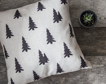 Pine Tree Pillow Cover, Pine Tree Throw Pillow, Decorative Pillow Cover, Cushion Cover