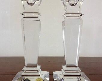 Bohemia Crystal Candle Holders Set 2 Jihlavske Bohemia Sklarny Sticker Intact Column Candle Holders Home Decor Wedding Gift