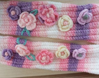 Free Shipping Knitted long Knee high colorful women socks with flowers