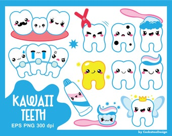50% OFF SALE, Kawaii clipart, kawaii tooth clipart, kawaii dentist clipart, tooth fairy clipart, braces clipart, cavity, commercial use