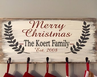 Merry Christmas Stocking Holder / Wooden Sign Stocking Holder / Rustic Christmas Signs /Personalized Christmas Signs / Rustic