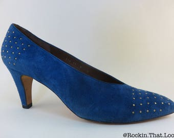 Size 9 Evan-Picone Made in Spain Blue Heels Gold Studs