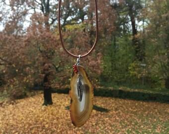 Feather Gemstone Necklace
