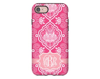 Bohemian iPhone 8 case, monogram iPhone 8 Plus case, pink iPhone X case, iPhone 7/7Plus case, iPhone 6s/6s Plus/6/6 Plus case
