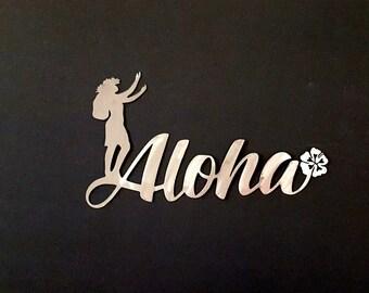 Aloha metal wall art with hula girl and hibiscus, Hawaiian inspired custom metal wall art, Metal door hanger, Live Aloha sign