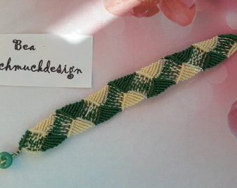 Bracelet micro macrame, beige and green