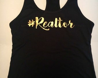 Gold Hashtag Realtor Tank | Real Estate Agent | Real Estate | Realtor Shirt | Tank Top | Gym Tank | Promotional | Closing Gift