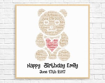 PERSONALIZED 1st Birthday Gift ~ Printable Art ~ First Birthday - 1st Birthday Girl ~  Baby Girl Gift ~ Teddy Bear ~ Word Art