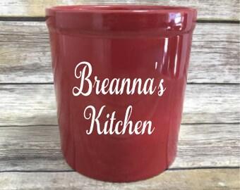 Personalized Stoneware Utensil Holder, Red Utensil Holder, Utensil Jar, Kitchen Organizer, Housewarming Gift, Wedding Gift, Chef Gift