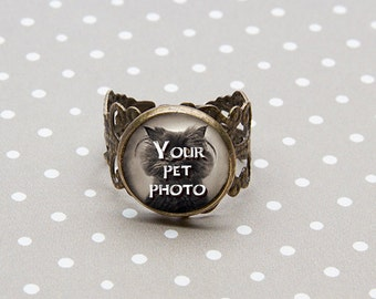 Handmade Bronze Custom Photo Pet Ring, Vintage Style Pet Photo Ring, Pet Custom Ring, Gift For Her, Antique Pet Ring