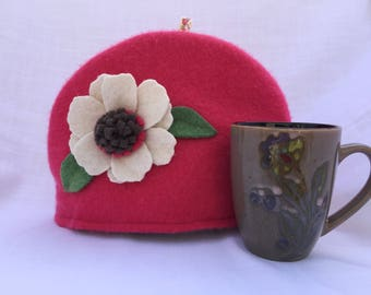 Coral Felted Cashmere Tea Cozy