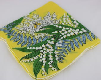 Vintage Floral Handkerchief, Lily of the Valley, Flower Girl Handkerchief, Yellow Wedding, wedding Handkerchief, Wedding Favors for Guests