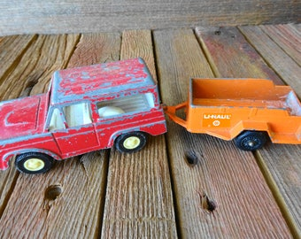 Vintage Tootsietoy tootsie-toy Ford Bronco and U-Haul Trailer 1960's Made in United States 1970 Rare Truck