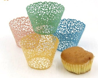 50PCS/Lot Little Vine Lace Laser Cut Cupcake Wrapper Liner Baking Cup For Home Wedding / Birthday / Christmas Party Decoration