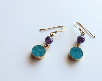 Blueberry Druzy and Amethyst Earrings