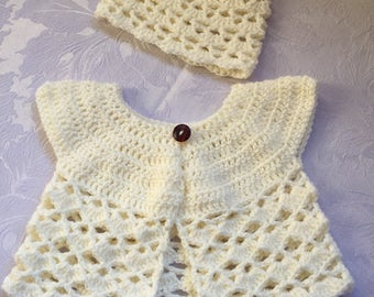 Baby Girl Cardigan and Beanie Hat Set