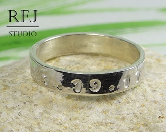 Customized  Date Silver Band Ring, Personalized Ring, Gift for Brother, Sister, Mother, Father, Location, Coordinate Latitude Longitude Ring