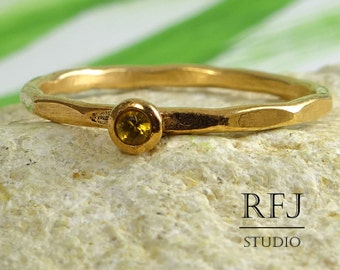 Rose Gold Genuine Citrine Faceted Ring November Birthstone, 2 mm Round Cut Natural Yellow Citrine Ring, 14K Rose Gold Plated Stackable  Ring