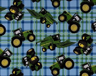 "Farm Fabric: John Deere Little Farm -  Tractor on Plaid Blue  100% cotton Fabric by the yard 36""x43"" (E215)"