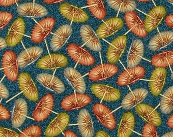 """Umbrella Fabric: New Paradise Delights Umbrellas Toss  by Quilting Treasures 100% cotton fabric by the yard 36""""x43""""  (C349)"""