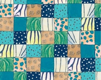 """Quilting Treasures THE MIGRATION Jungle Animals Skin Prints Patches  100% cotton Fabric by the yard 36""""x44"""" (C427)"""