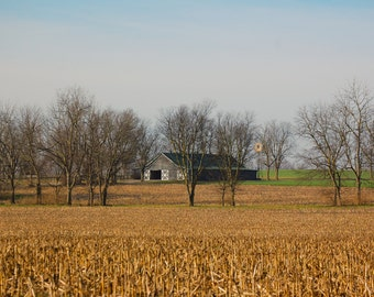 Barn & Windmill in crop field, Country Photograph, 16x20, 11x14, Landscape, Farmland, Country Decor,