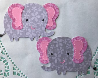 Pink and Gray elephants cut outs, baby shower decorations, jungle themed party, elephant centerpiece, Diaper Cake, set of 6