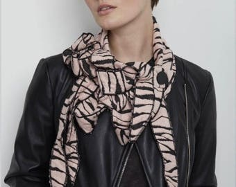 Collette! Pale Pink Tiger Stripes, Button on Scarf, Animal Print
