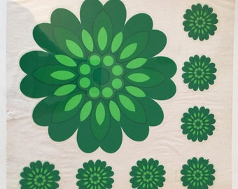 Sylglas green floral retro pressure relief-decoration from the years 60 70 wall cupboard tile decoration from the sixties seventies