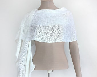 Bridal knitted cover up.Elegant stole.Fancy shawl. White knitted scarf.Fancy knitted wrap.Exclusive top.Knitted wrap.Elegant knitted scarf.
