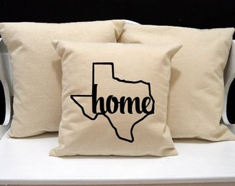 Texas Home Pillow, Texas Pillow, home pillow, pillow gift, Texas gift, Envelope Pillow Cover, state pillow, TX pillow, 20x20 16x16 pillow