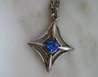 Vintage Silver Tone & Blue Rhinestone Pendant Necklace