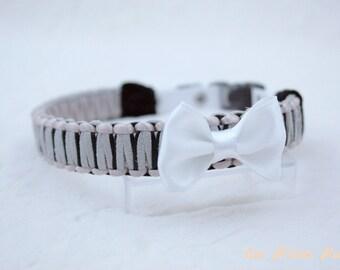 Braided dog collar grey and black