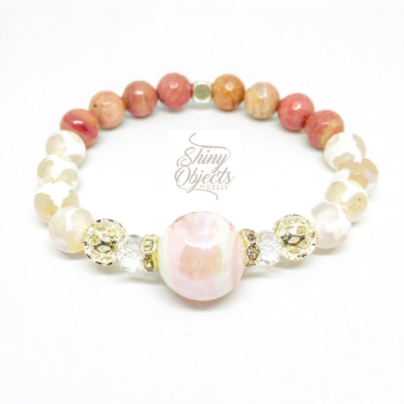 Rhodonite and Lace Agate Bracelet