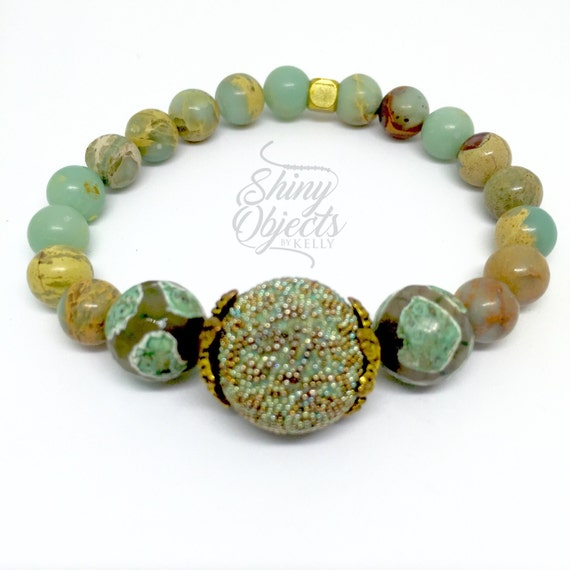Snakeskin Jasper bracelet with ceramic and decorative statement beads