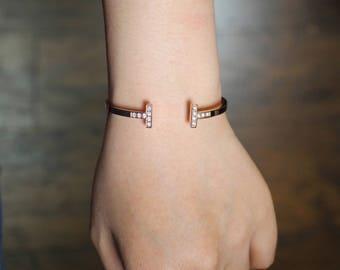 Designer Inspired: Rose Gold Plated T Shape Cuff Bangle