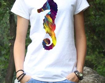 Seahorse T-Shirt - Sea Horse Tee - Fashion T-Shirt - White shirt - Printed shirt - Women's T-shirt