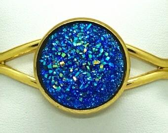 Royal Blue Druzy Bracelet - Drusy - Cuff Bracelet - Bridesmaid Bracelet - Wedding Jewelry - Bat Mitzvah Gift - Patriotic Bracelet - Hanukkah