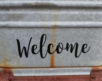 Welcome Vinyl Decal Front Door or House Decal, Door Welcome Sticker, Home Decal, Door Decor, Home Sweet Home, Welcome, Many Color Options