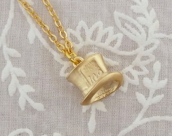 Mad Hatter's tea party charm necklace, Alice in Wonderland, Hat, gold plated
