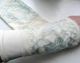 "Arm warmers / bridal cuffs from silk Jersey ""Elf"""