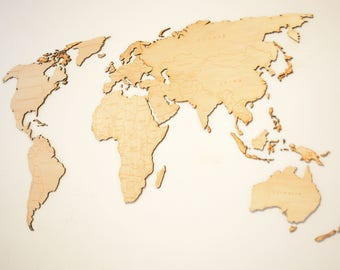 Wall Decoration World Map, Lasercut in Walnut or Maple, Very Detailed, Customizable