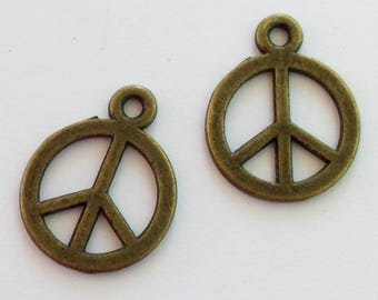 100- Antiqued Bronze  Peace Sign Charms - 13mm round, small