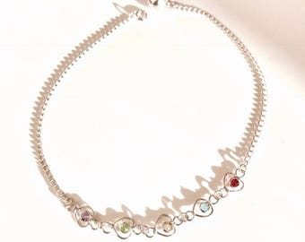 Sterling Silver Multi Coloured Heart Anklet