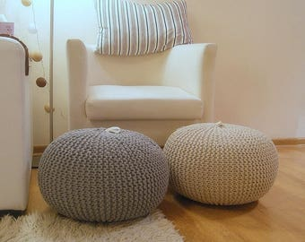 Knitted pouf. Stop time, sit down and have a rest.