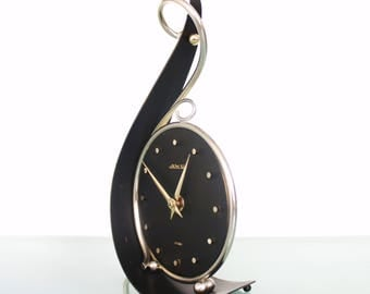 AWU Mantel Top DESIGN Clock Solid Metal SCULPTURE Holland Mid Century Colletable